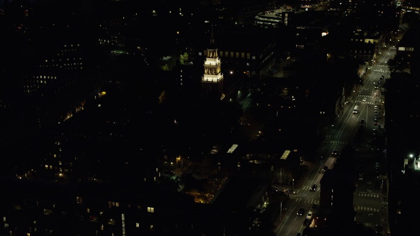 6K stock footage aerial video flying by Lowell House, Harvard University, Massachusetts, night Aerial Stock Footage | AX141_090