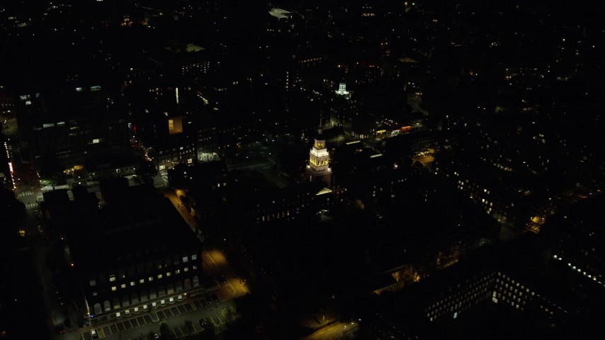 6K stock footage aerial video flying away from Lowell House, Harvard University, Massachusetts, night Aerial Stock Footage | AX141_092