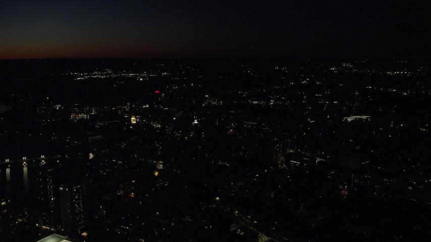 6K stock footage aerial video orbiting Harvard University, Massachusetts, night Aerial Stock Footage | AX141_096