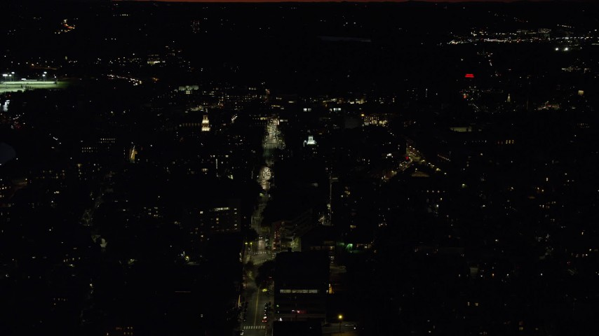 6K stock footage aerial video flying by Lowell House, Adams House, Harvard University, Massachusetts, night Aerial Stock Footage | AX141_097