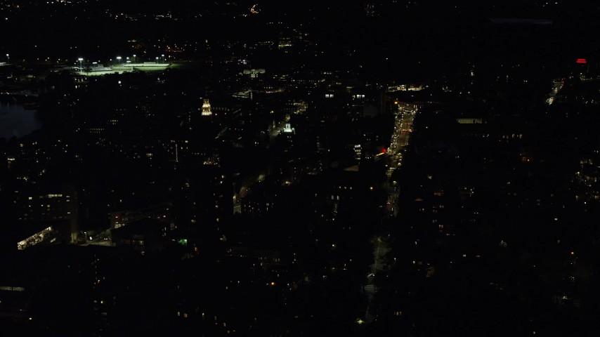 6K stock footage aerial video orbiting Lowell House and Adams House, Harvard University, Massachusetts, night Aerial Stock Footage   AX141_098