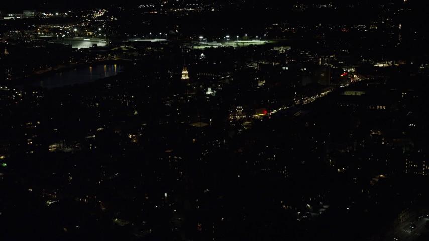 6K stock footage aerial video orbiting the campus, Lowell House, Adams House, Harvard University, Massachusetts, night Aerial Stock Footage | AX141_099