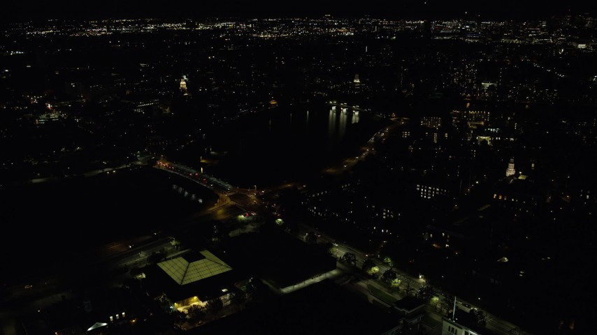 6K stock footage aerial video of Anderson Memorial Bridge, John W. Weeks Bridge, Harvard University, Massachusetts, night Aerial Stock Footage | AX141_112