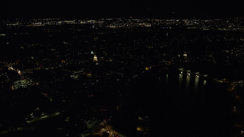 6K stock footage aerial video flying by the Lowell House, Harvard University, Massachusetts, night Aerial Stock Footage | AX141_113