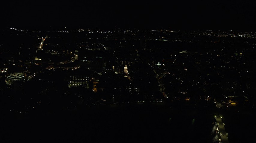 6K stock footage aerial video flying by Lowell House, Harvard University, Massachusetts, night Aerial Stock Footage | AX141_119