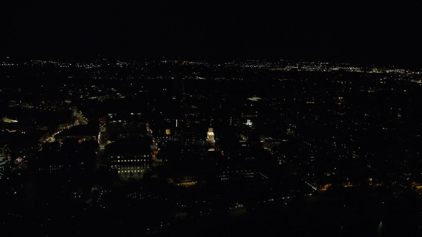 6K stock footage aerial video orbiting Lowell House on campus, Harvard University, Massachusetts, night Aerial Stock Footage   AX141_120
