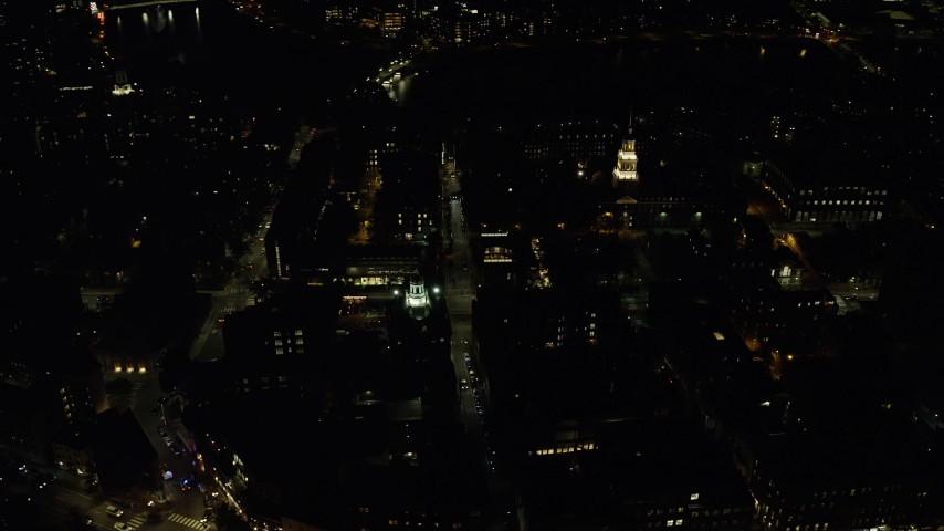 6K stock footage aerial video orbiting Adams House and Lowell House, Harvard University, Massachusetts, night Aerial Stock Footage | AX141_124