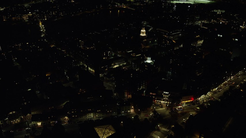 6K stock footage aerial video orbiting Harvard University, Massachusetts, night Aerial Stock Footage | AX141_125
