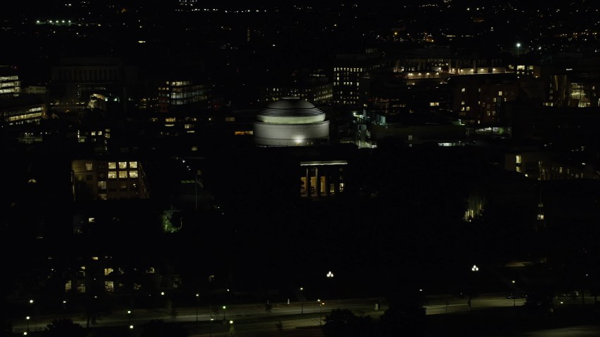 6K stock footage aerial video of Maclaurin Building, Massachusetts Institute of Technology, Cambridge, Massachusetts, night Aerial Stock Footage | AX141_160