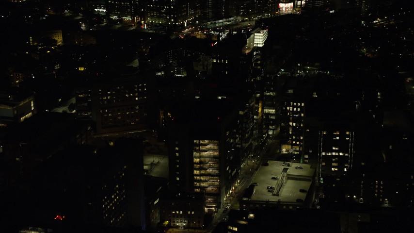 6K stock footage aerial video orbiting Longwood Medical Area, Boston, Massachusetts, night Aerial Stock Footage | AX141_176