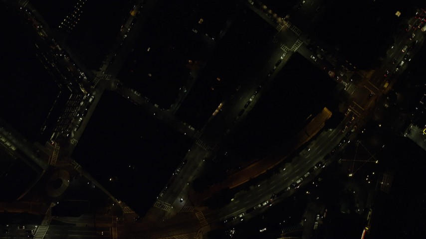 6K aerial video of a bird's eye view over buildings, city streets, Downtown Boston, Massachusetts, night Aerial Stock Footage | AX141_207