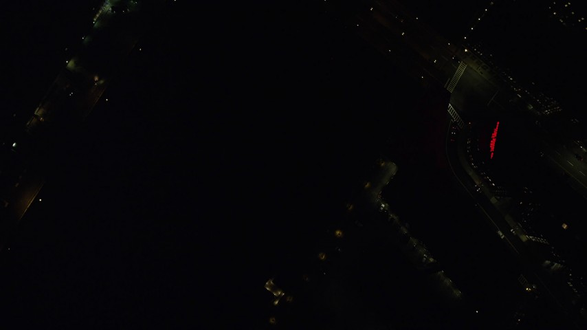 6K stock footage aerial video of a bird's eye view over small bridge, city street, Downtown Boston, Massachusetts, night Aerial Stock Footage | AX141_209