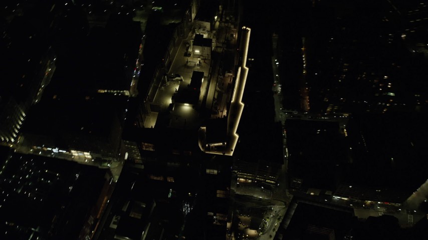 6K stock footage aerial video flying away from Millennium Tower, Downtown Boston, Massachusetts, night Aerial Stock Footage | AX141_217