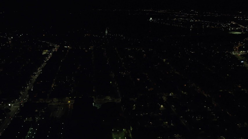 6K stock footage aerial video flying by Dorchester Heights Monument, South Boston, Massachusetts, night Aerial Stock Footage | AX141_220