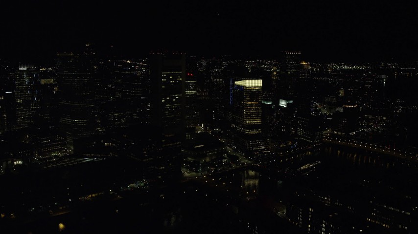 6K stock footage aerial video approaching Federal Reserve Bank, Russia Wharf, Downtown Boston, Massachusetts, night Aerial Stock Footage   AX141_236