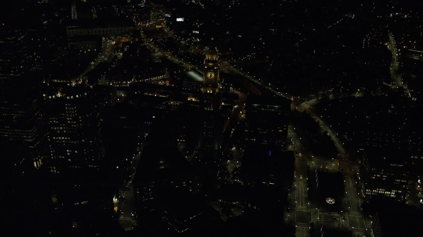 6K stock footage aerial video flying over Custom House Tower, Downtown Boston, Massachusetts, night Aerial Stock Footage | AX141_239