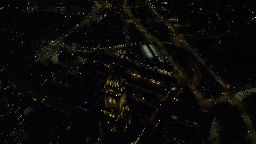 6K stock footage aerial video of a bird's eye view over city streets, Downtown Boston, Massachusetts, night Aerial Stock Footage | AX141_240