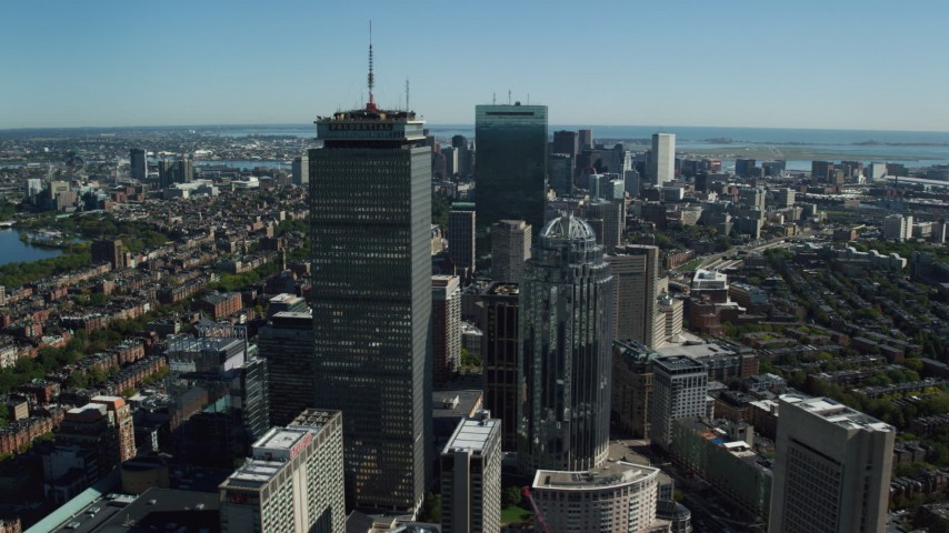 6K stock footage aerial video flying by Prudential Tower, 111 Huntington Avenue, Downtown Boston, Massachusetts Aerial Stock Footage | AX142_020