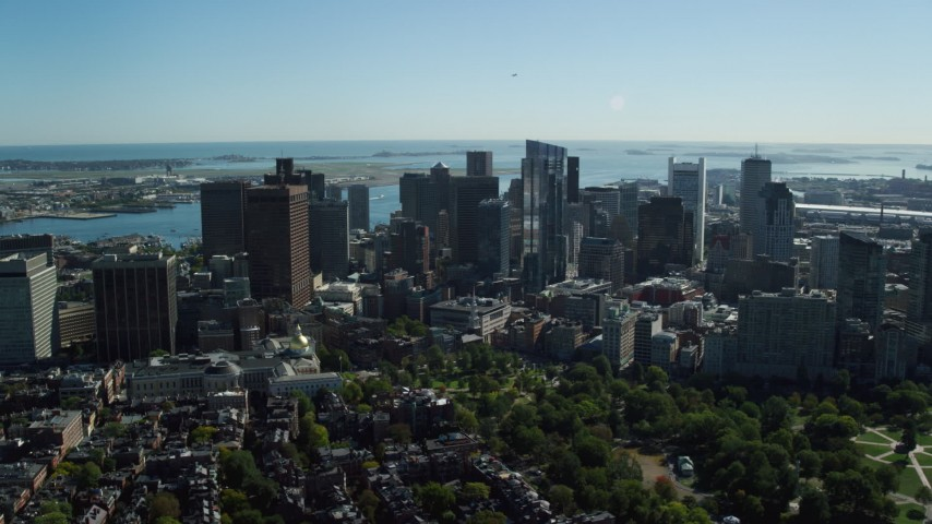 6K stock footage aerial video of Boston Common, Massachusetts State House, Downtown Boston, Massachusetts Aerial Stock Footage | AX142_023