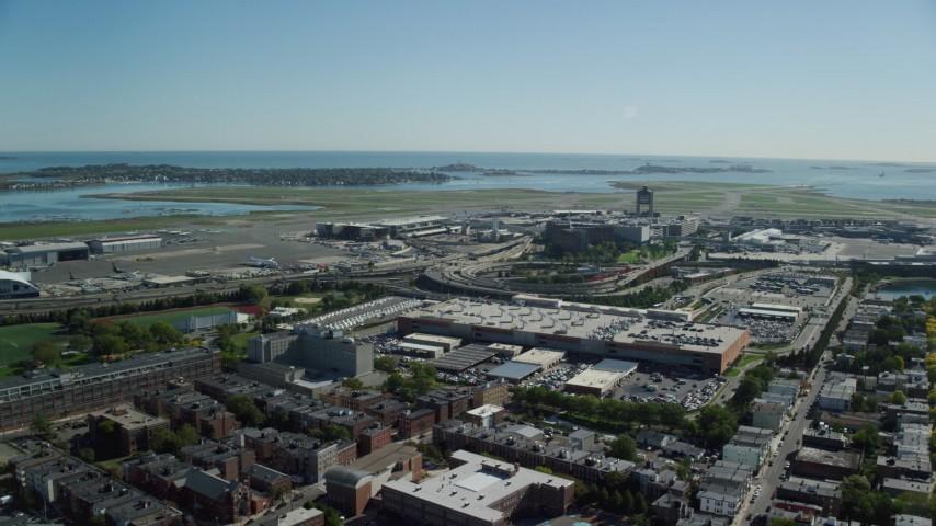 6K stock footage aerial video approaching Logan International Airport, Boston, Massachusetts Aerial Stock Footage | AX142_028