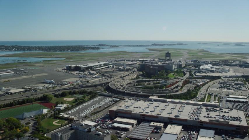 6K stock footage aerial video approaching Logan International Airport, Boston, Massachusetts Aerial Stock Footage | AX142_029