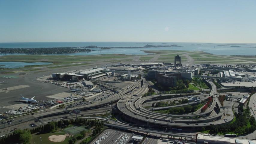 6K stock footage aerial video approaching Logan International Airport, Boston, Massachusetts Aerial Stock Footage | AX142_030