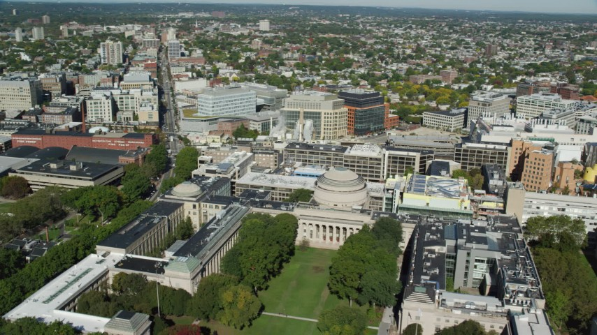 6K stock footage aerial video approaching Massachusetts Institute of Technology (MIT), Cambridge, Massachusetts Aerial Stock Footage | AX142_043