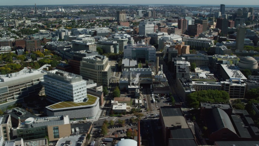 6K stock footage aerial video flying by Massachusetts Institute of Technology (MIT), Cambridge, Massachusetts Aerial Stock Footage | AX142_045