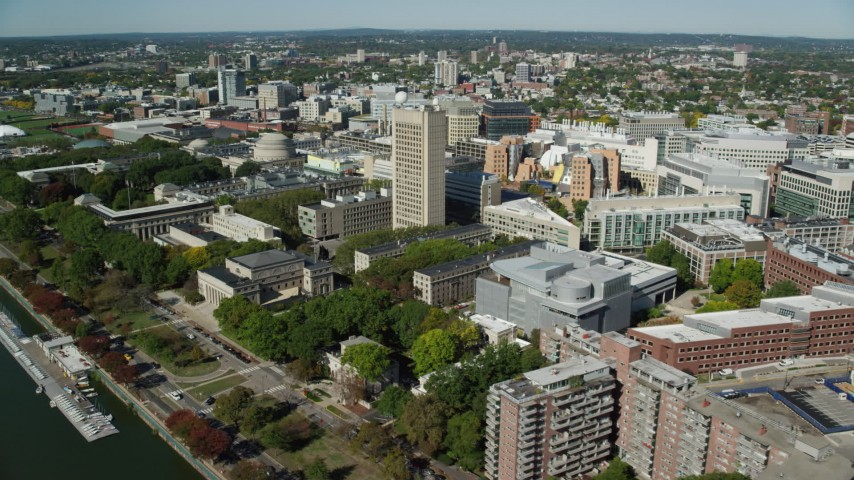 6K stock footage aerial video flying by Massachusetts Institute of Technology, Cambridge, Massachusetts Aerial Stock Footage | AX142_054