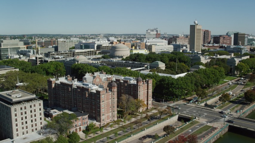 6K stock footage aerial video approaching, flying over Massachusetts Institute of Technology, Cambridge, Massachusetts Aerial Stock Footage   AX142_060