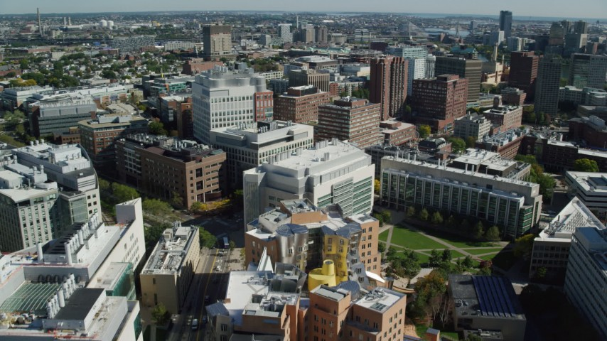 6K stock footage aerial video flying over the Massachusetts Institute of Technology, Cambridge, Massachusetts Aerial Stock Footage | AX142_062