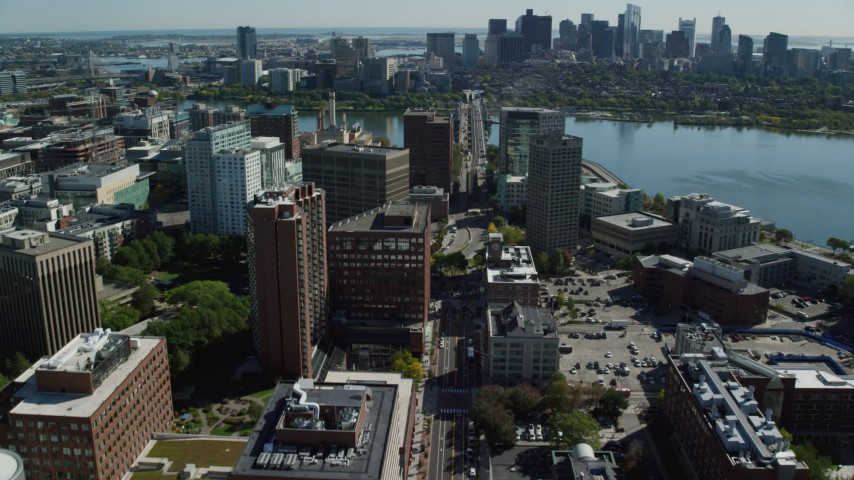 6K stock footage aerial video of Massachusetts Institute of Technology, Downtown Boston, Cambridge, Massachusetts Aerial Stock Footage | AX142_063