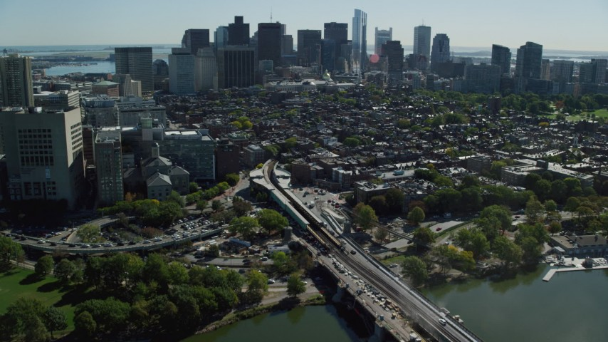 6K stock footage aerial video approaching Beacon Hill, Downtown Boston, Massachusetts Aerial Stock Footage | AX142_066