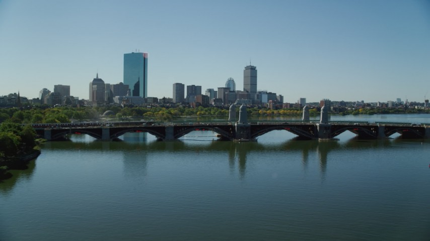 6K aerial video flying by Longfellow Bridge, approaching Downtown Boston, Massachusetts Aerial Stock Footage | AX142_069