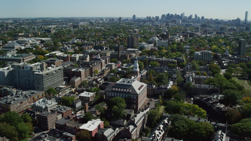 6K aerial video orbiting Harvard University, Cambridge, Massachusetts Aerial Stock Footage AX142_082