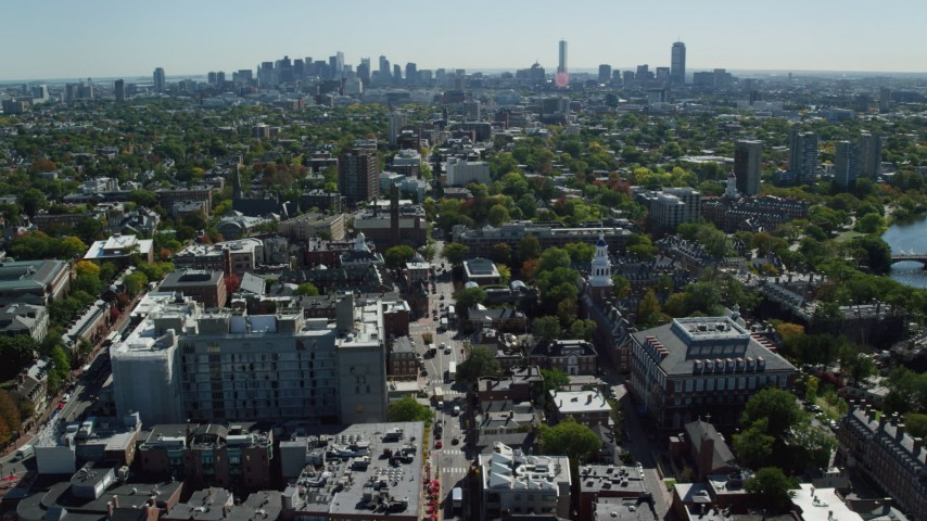 6K stock footage aerial video flying by Harvard University, Lowell House, Cambridge, Massachusetts Aerial Stock Footage | AX142_083
