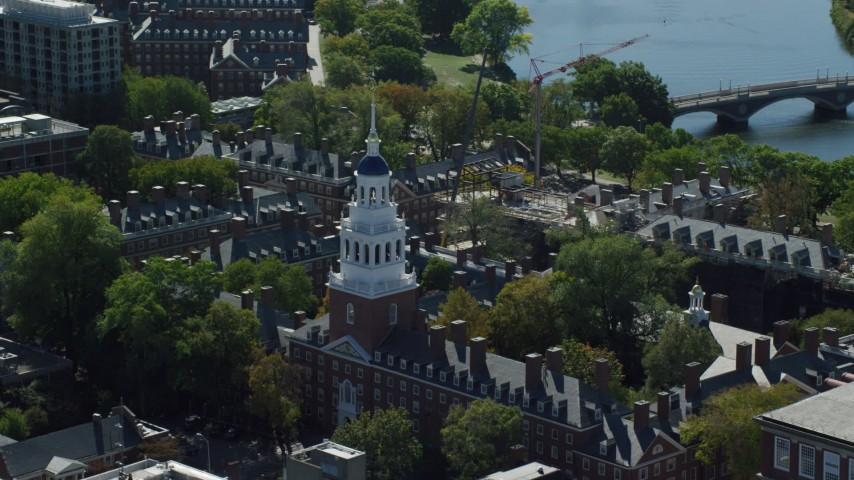 6K stock footage aerial video flying by Harvard University, Lowell House, Cambridge, Massachusetts Aerial Stock Footage | AX142_084
