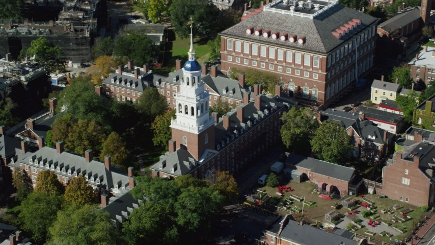 6K stock footage aerial video orbiting Harvard University, Lowell House, Cambridge, Massachusetts Aerial Stock Footage | AX142_086