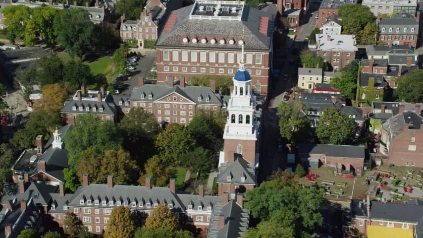 6K stock footage aerial video orbiting Harvard University, Lowell House, Cambridge, Massachusetts Aerial Stock Footage | AX142_087