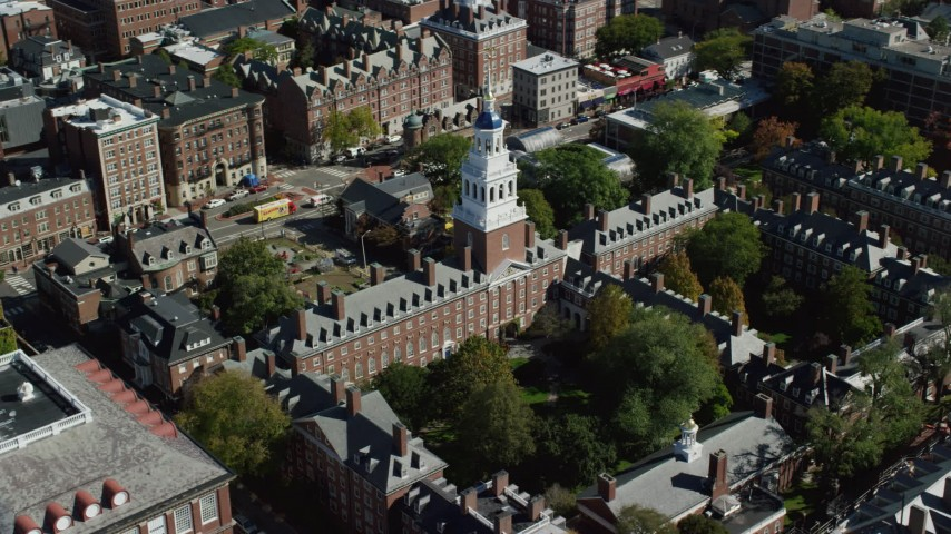 6K stock footage aerial video orbiting Harvard University, Lowell House, Cambridge, Massachusetts Aerial Stock Footage | AX142_088