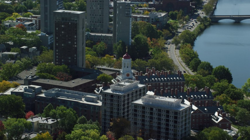 6K stock footage aerial video flying by Harvard University, Dunster House, Cambridge, Massachusetts Aerial Stock Footage | AX142_090