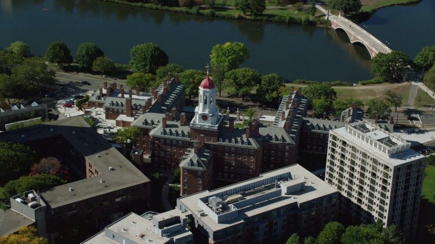 6K stock footage aerial video orbiting Harvard University, Dunster House, Cambridge, Massachusetts Aerial Stock Footage | AX142_092