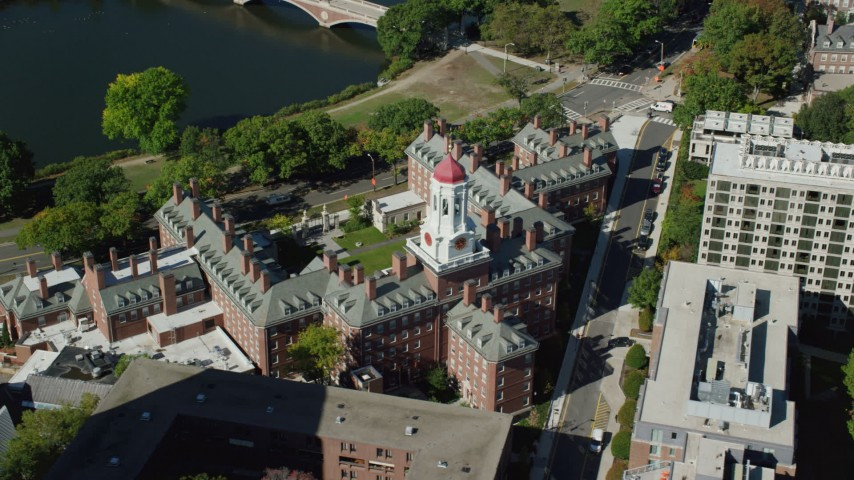 6K stock footage aerial video orbiting Harvard University, Dunster House, Cambridge, Massachusetts Aerial Stock Footage | AX142_093