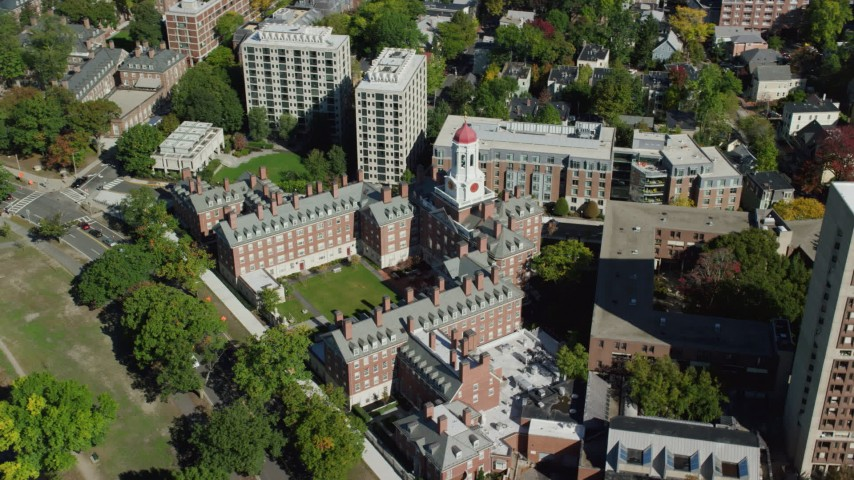 6K stock footage aerial video orbiting Harvard University, Dunster House, Cambridge, Massachusetts Aerial Stock Footage | AX142_094