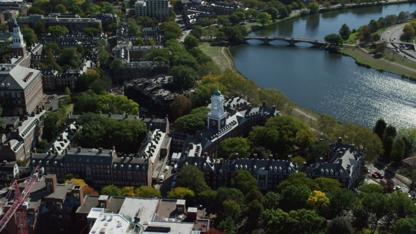 6K stock footage aerial video orbiting Harvard University, Eliot House, Cambridge, Massachusetts Aerial Stock Footage | AX142_097