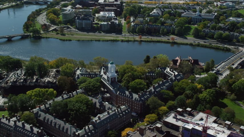 6K stock footage aerial video orbiting Harvard University, Eliot House, Cambridge, Massachusetts Aerial Stock Footage | AX142_098