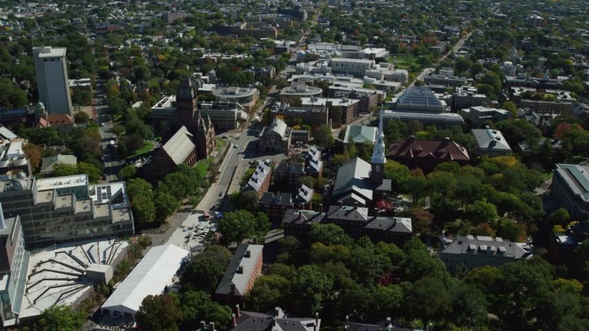 6K stock footage aerial video of Harvard University, Memorial Church, Widener Library, Cambridge, Massachusetts Aerial Stock Footage | AX142_104