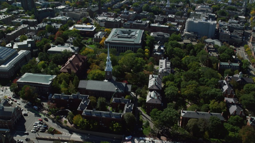6K stock footage aerial video of Harvard University, Memorial Church, Widener Library, Cambridge, Massachusetts Aerial Stock Footage | AX142_105