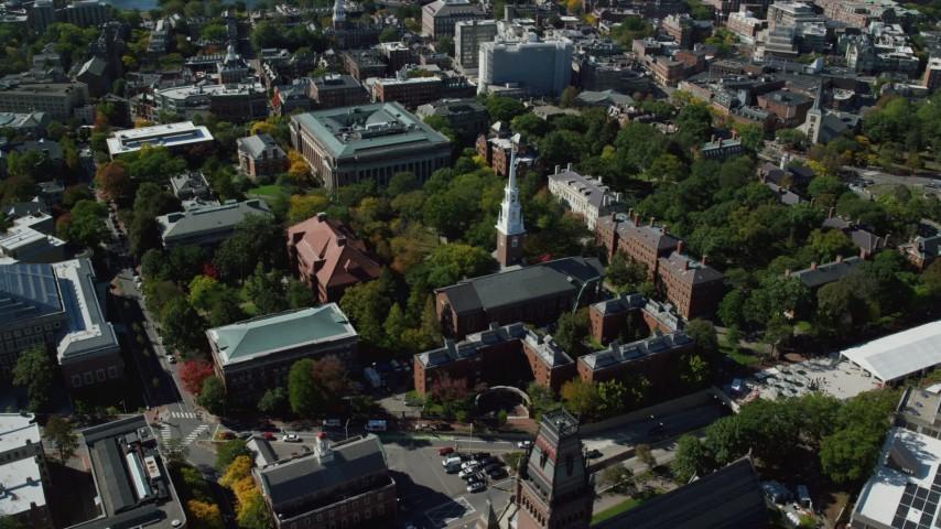6K stock footage aerial video of Harvard University, Memorial Church, Widener Library, Cambridge, Massachusetts Aerial Stock Footage | AX142_106