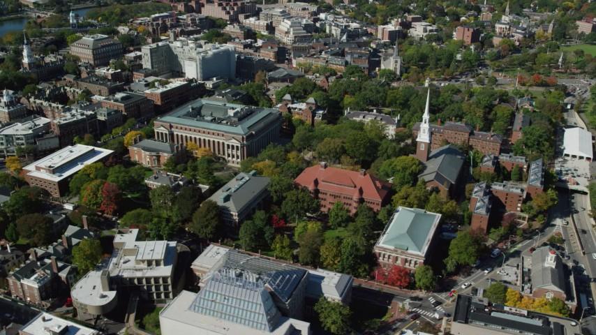 6K stock footage aerial video of Harvard University, Memorial Church, Widener Library, Cambridge, Massachusetts Aerial Stock Footage | AX142_107
